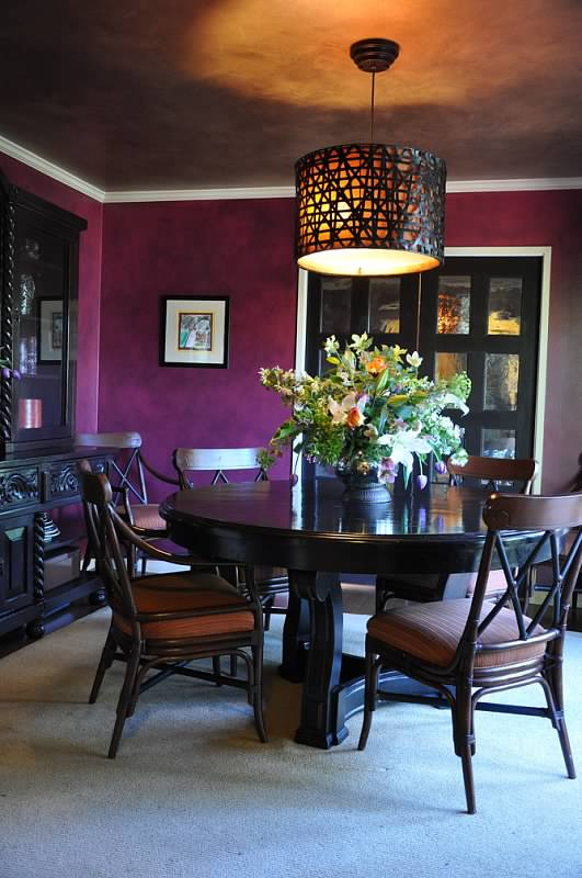 Centered dinning table and chairs