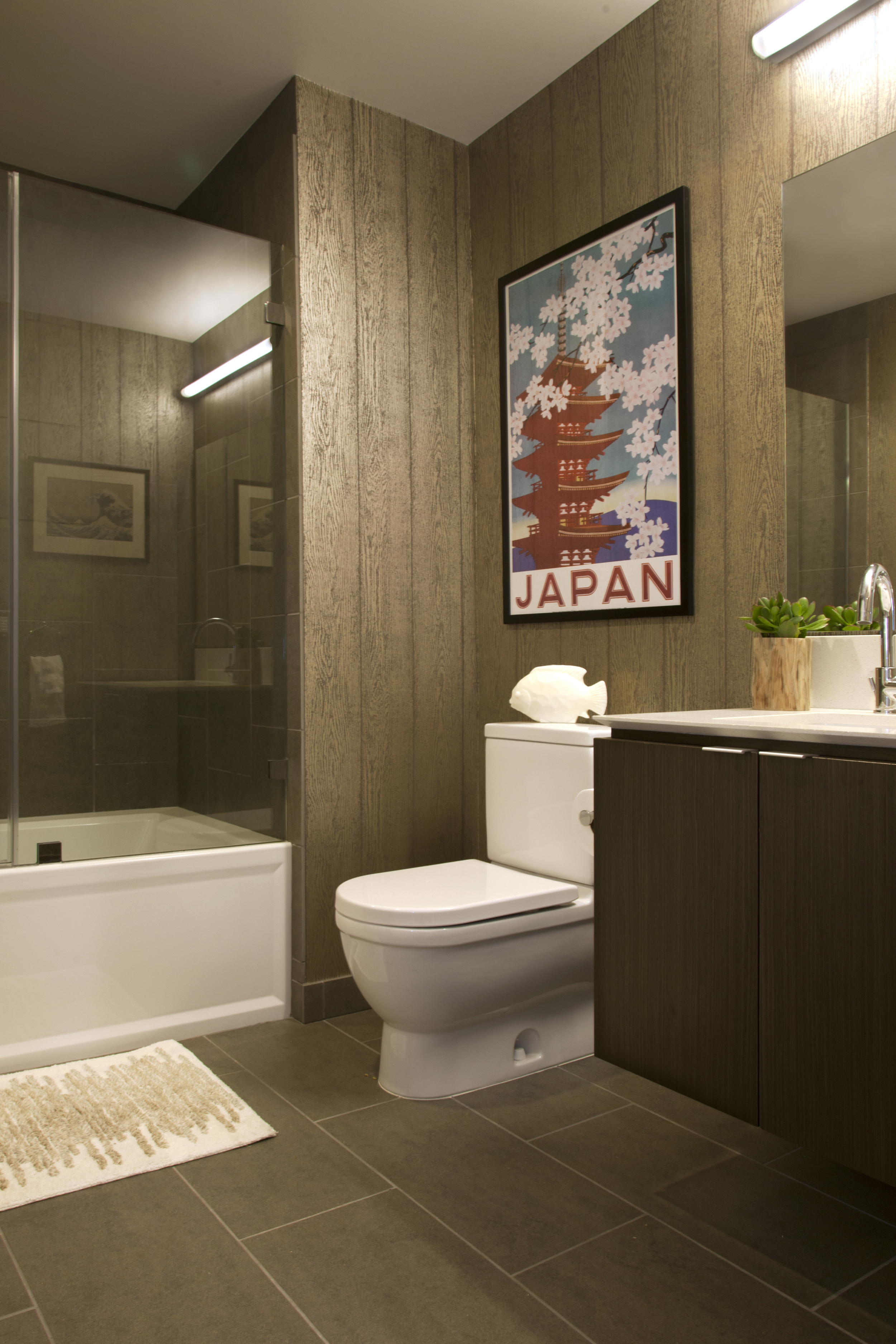 guest powder room with faux wood wall paper