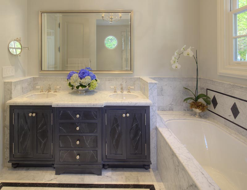 guest bath marble counter faux painted cabinet