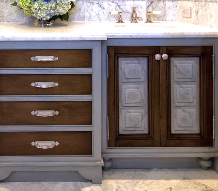 marble and wood bathroom cabinets