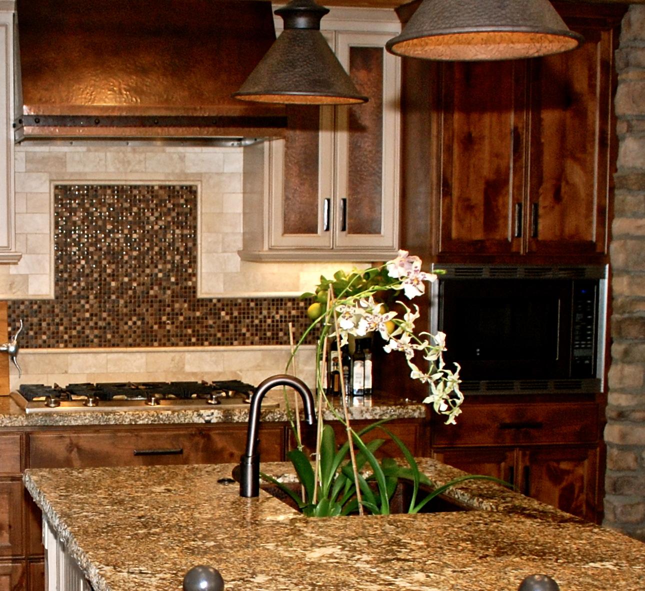 stove backsplash tile design and copper range