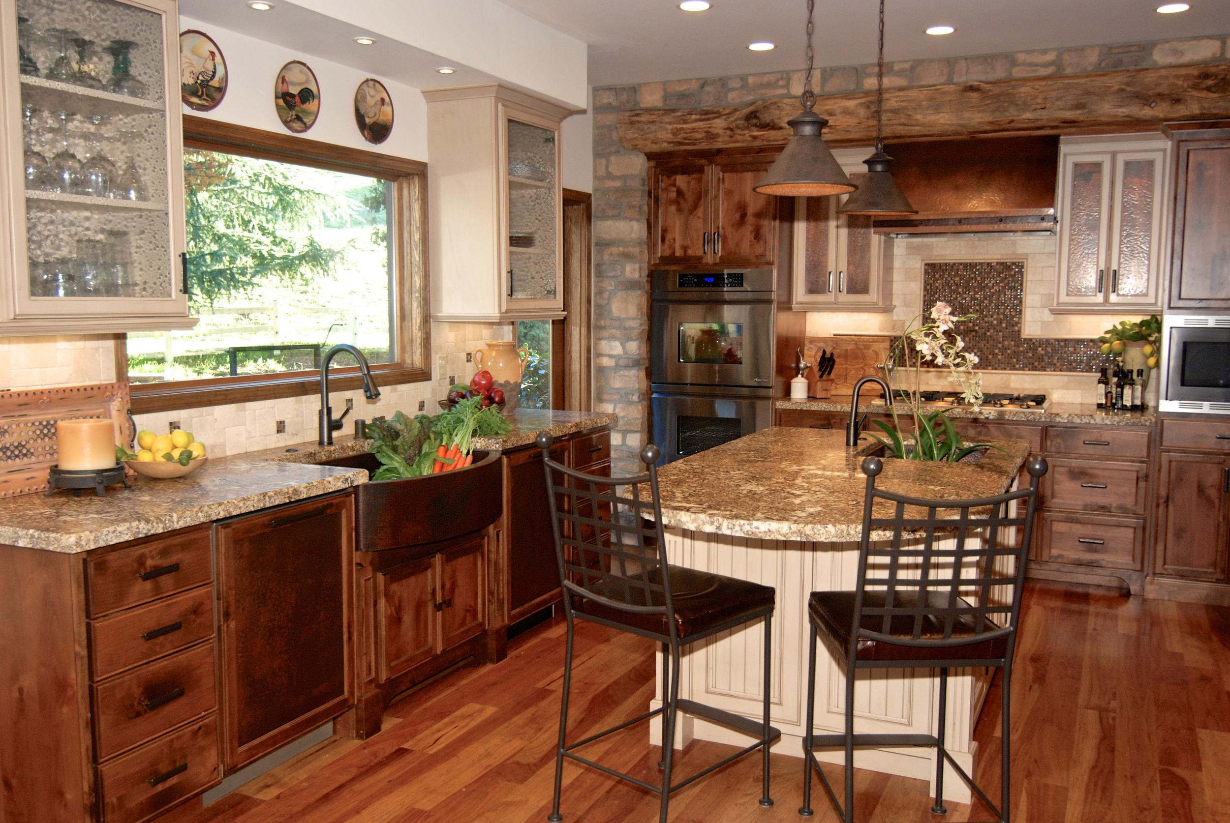 farm apron sink granite island and bar chairs