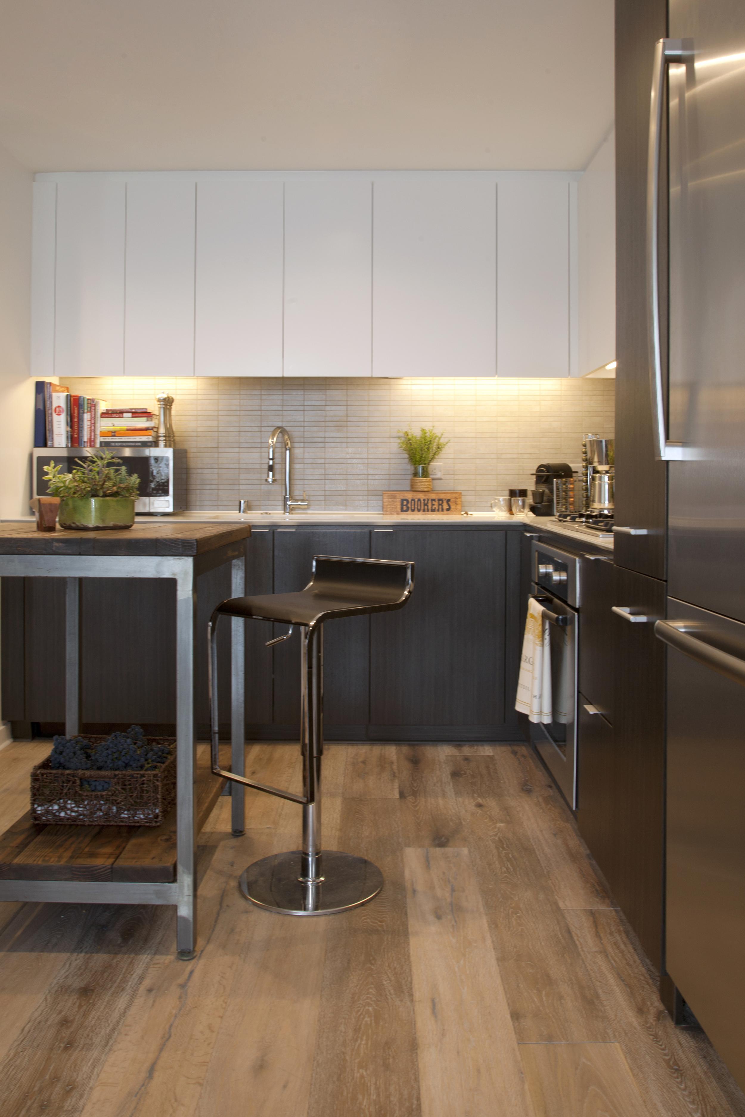 Modern white kitchen bar stools and cutting board island