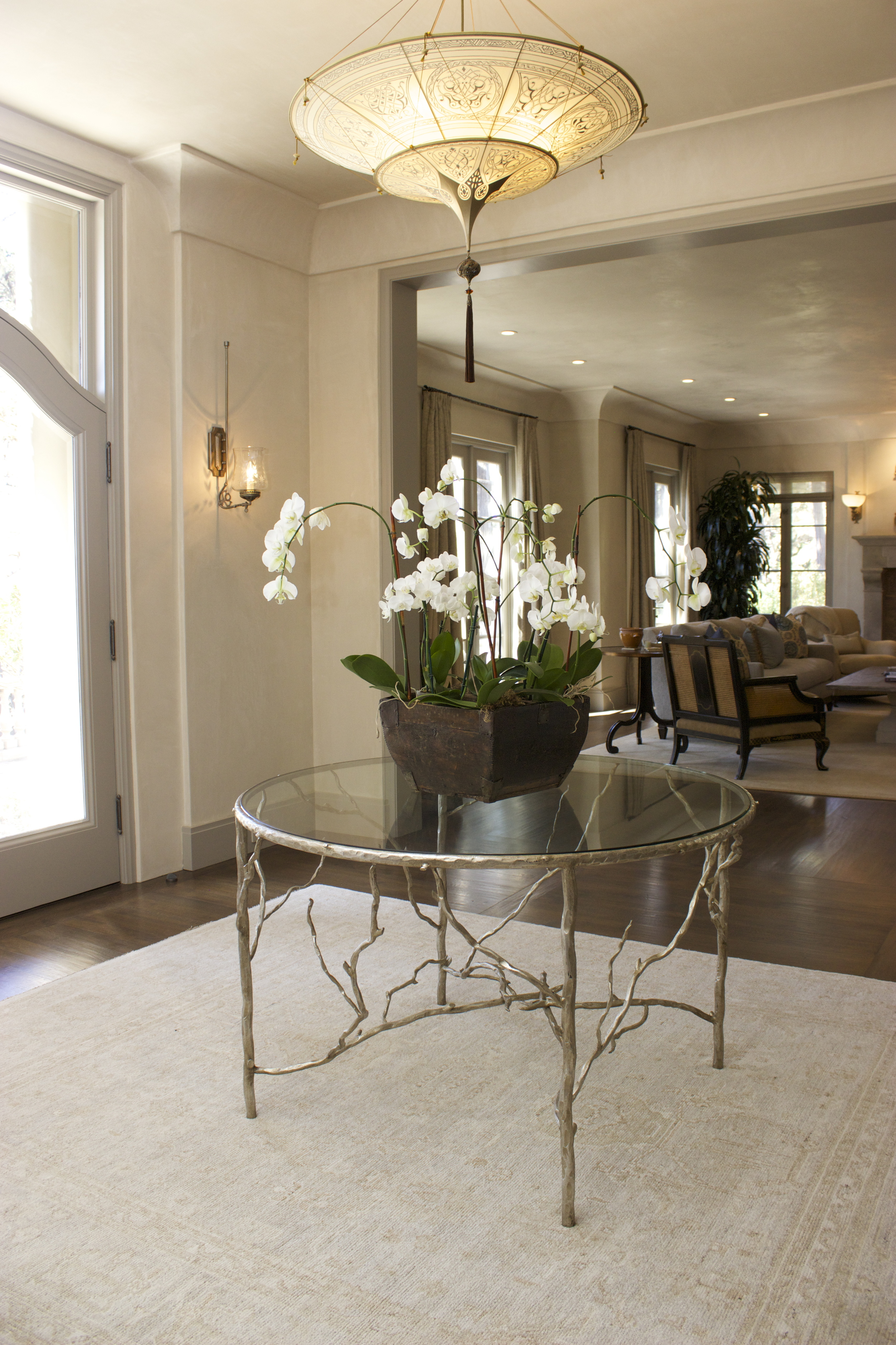 Custom metal branch table with glass top
