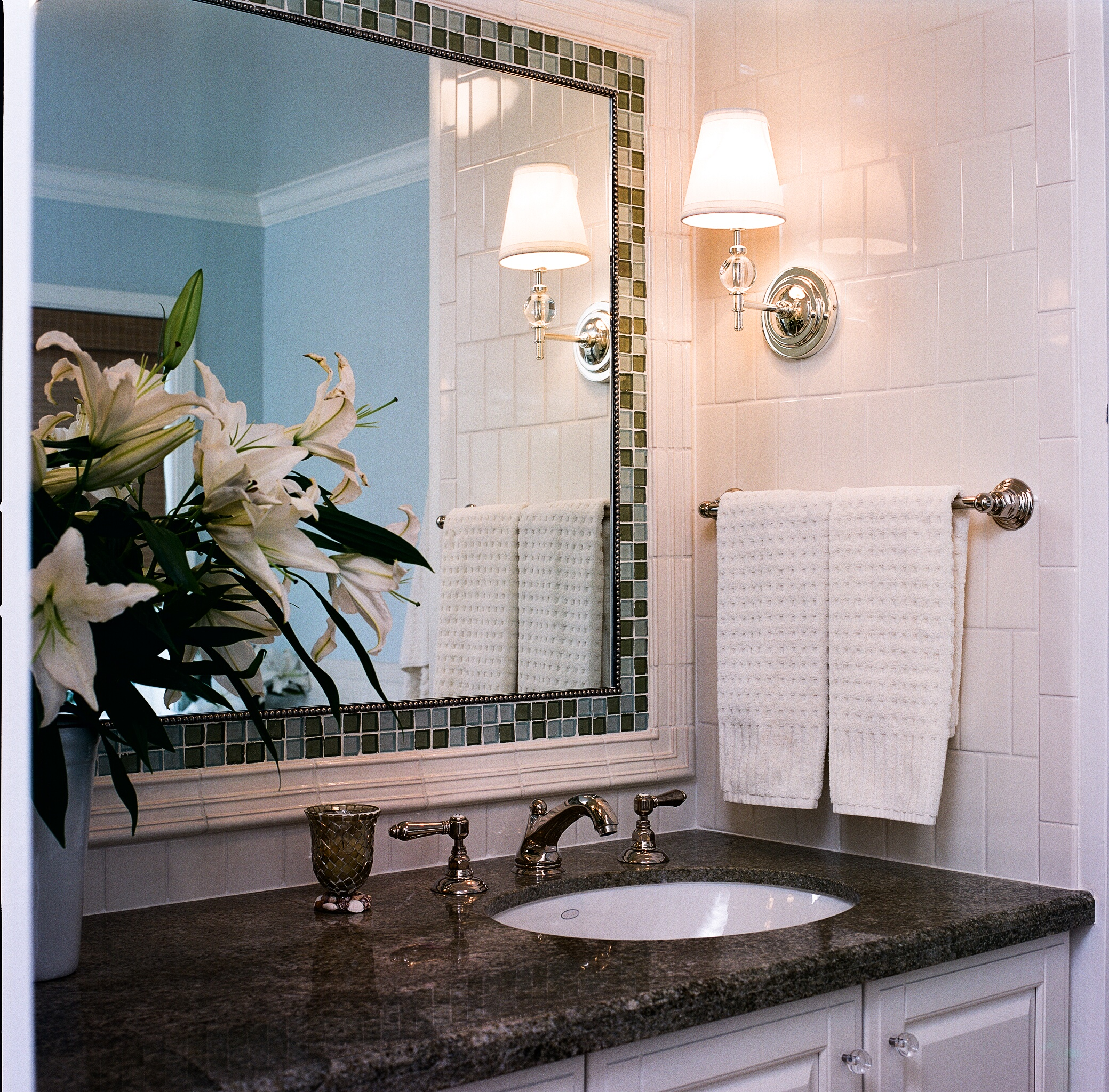 Tile mirror and granite counter sink