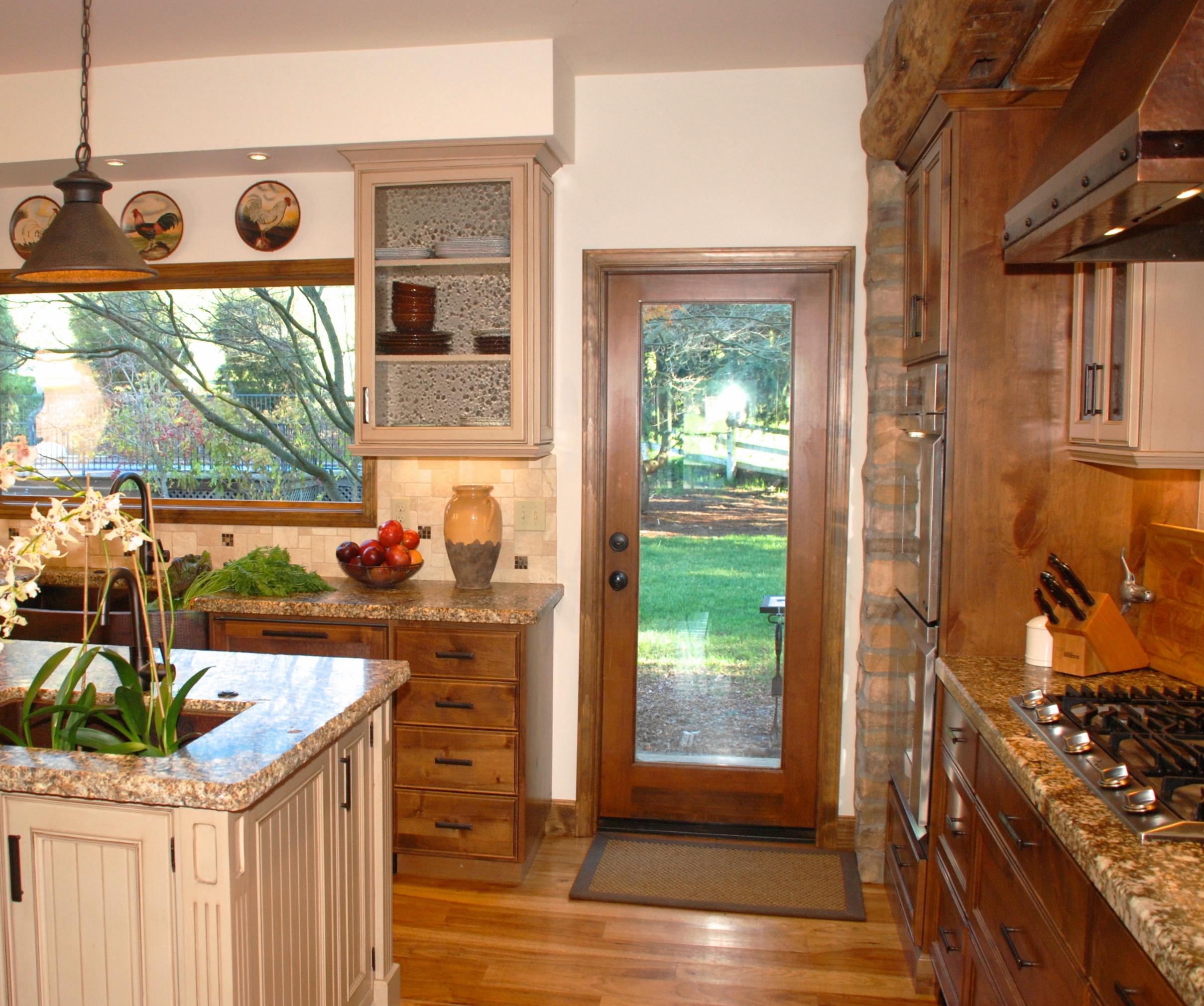 kitchen back door window and stone surround