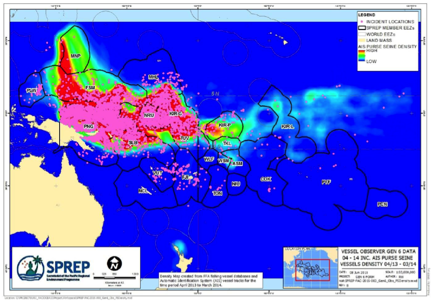 Figure 1. Purse Seine Pollution Incidents Mapped by Latitude and Longitude