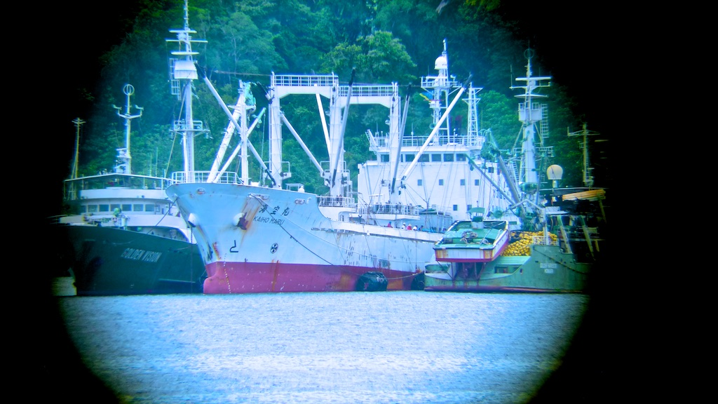 """I took this picture from a suspected illegal transhipment from over 800 m away with my phone camera, I """"connected"""" the lens to a good binocular I had on board. Sometimes,If you don't have the right equipment, you to use your imagination!"""
