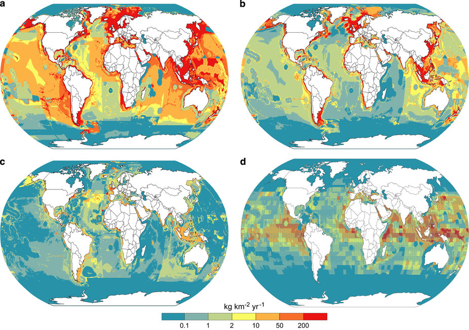 Examples of database use with mapped catch rates (kg km−2 yr−1). (a) Average annual reported catch rates (including IUU) for 2010–2014; (b) Average annual catch rate of discarded marine products 2000–2004; (c) Average catch rate of sharks and rays 2010–2014; (d) Average catch rate of tunas and billfish 2010–2014.
