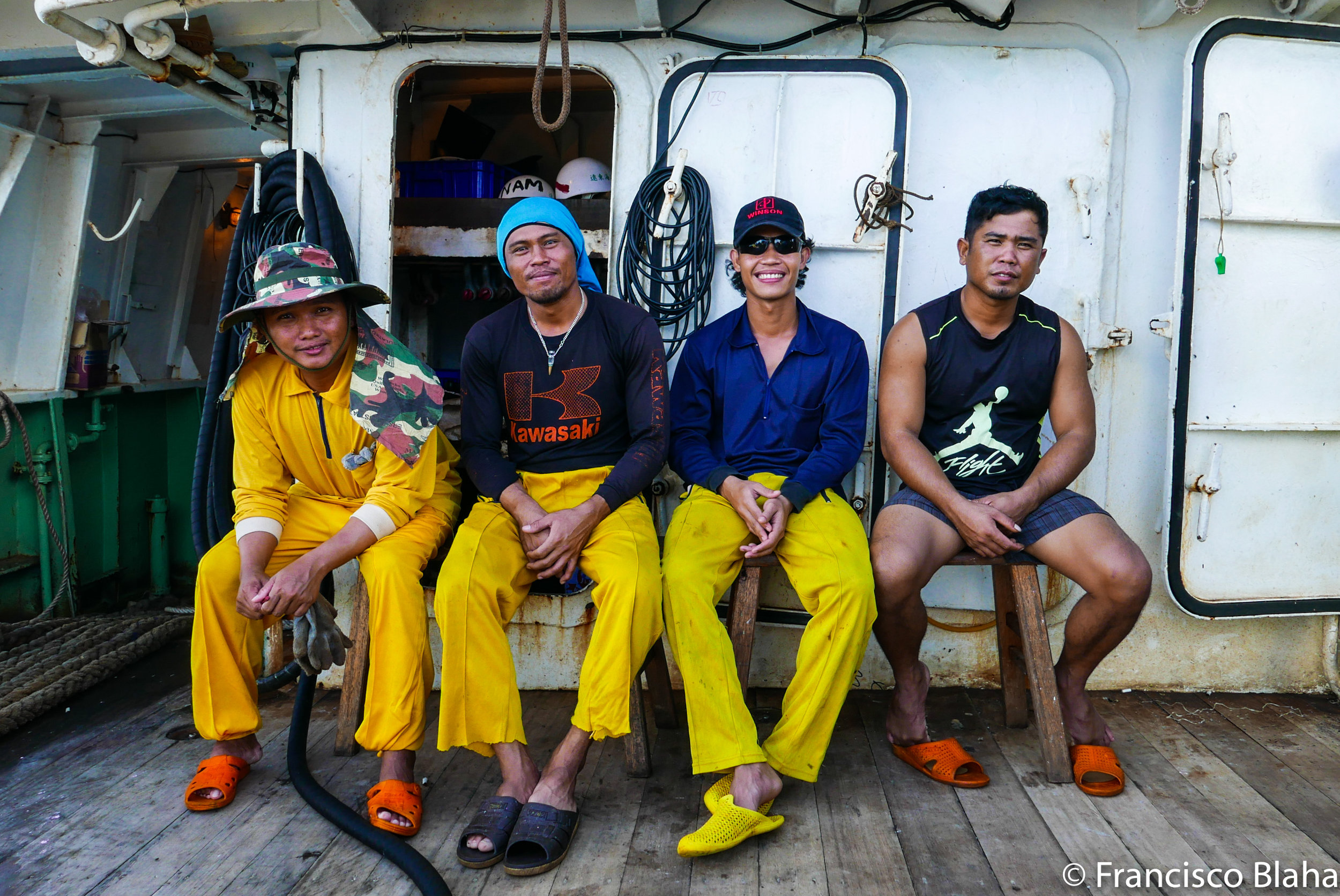 anonymous crew on a purseiner