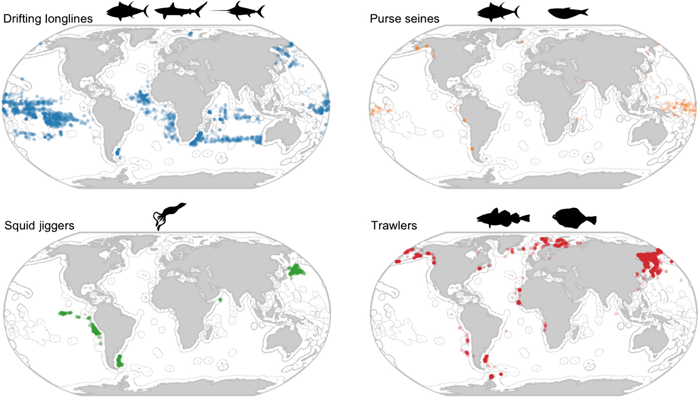Global patterns of transshipment for different fishing gears