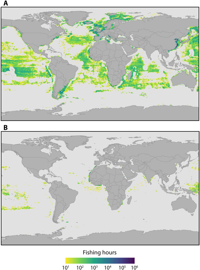Density distribution of global industrial fishing effort, derived using AIS data. ( A ) Vessels flagged to higher-income countries and ( B ) vessels flagged to lower-income countries.