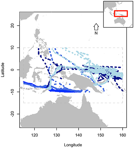 Figure 2 . Tracks of four supply vessels noted to have had irregular behaviors. Gray dashed lines indicate extent of data for purposes of presentation. Inset box displays extent of data in larger region.