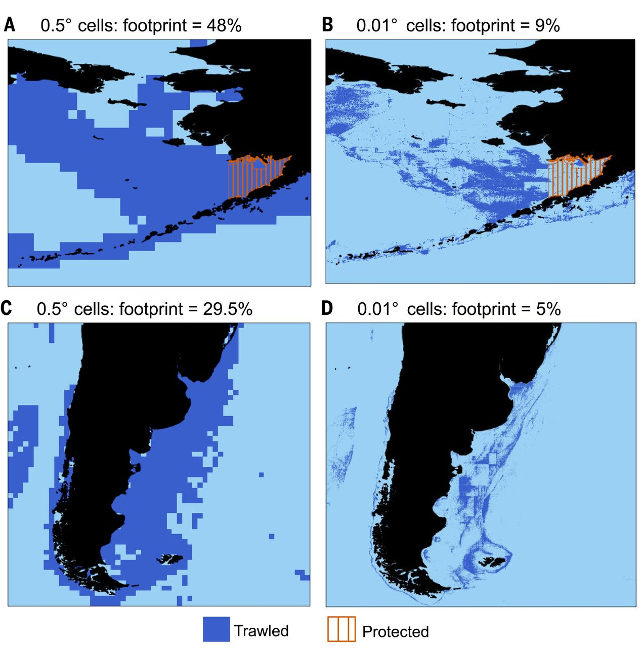 Fig. 1  Effect of grid resolution on the perception of   fishing   footprint . The areas in dark blue show the trawling footprints estimated for 2016 with ( A and  C ) an equal-area grid with 0.5° resolution at the equator; ( B and  D ) an equal-area grid with 0.01° resolution at the equator.