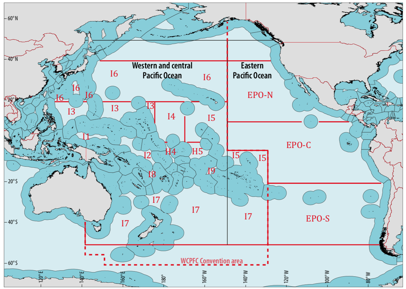 Figure 3. High-seas areas in the western and Central Pacific Ocean and eastern Pacific Ocean used to estimate changes in biomass of tuna.