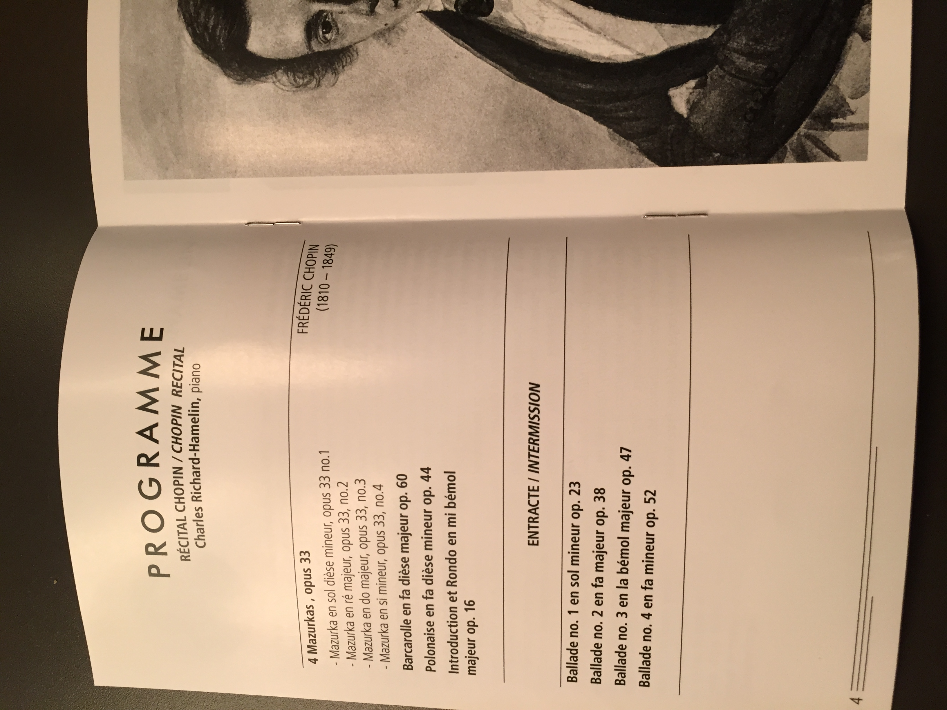 The program for my Chopin recital in Lachine (July 12, 2015)