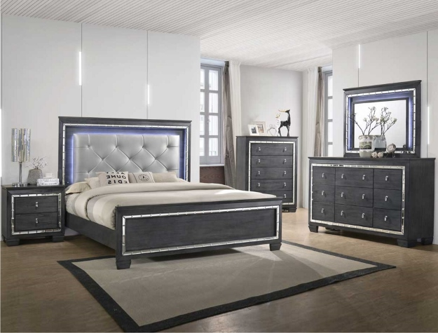 Perina Led Light Queen Bedroom Set Chest Included Smart Furniture