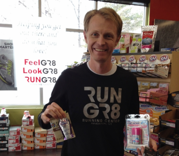 Run GR8  suggested Glide to avoid chaffing and nutrition such as Gu or Honey Stingers Waffles to help power a long run