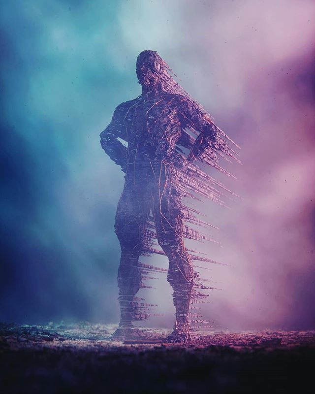 "0x06⠀ ⠀ Last one in the series for now, thanks @pablovaxs for the ""big"" idea. ;)⠀ #b3d #cyclesrender #voxel #volume #volumetric #wireframe #decimate #polytrash #3D #CG #digital #art #man #human #colossus"