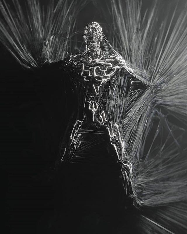 tether_01⠀ ⠀ #b3d #cyclesrender #weird #cg #didigtal #art #abstract #glitch #broken #mesh #mdcommunity #doodle #greyscale #blacknwhite