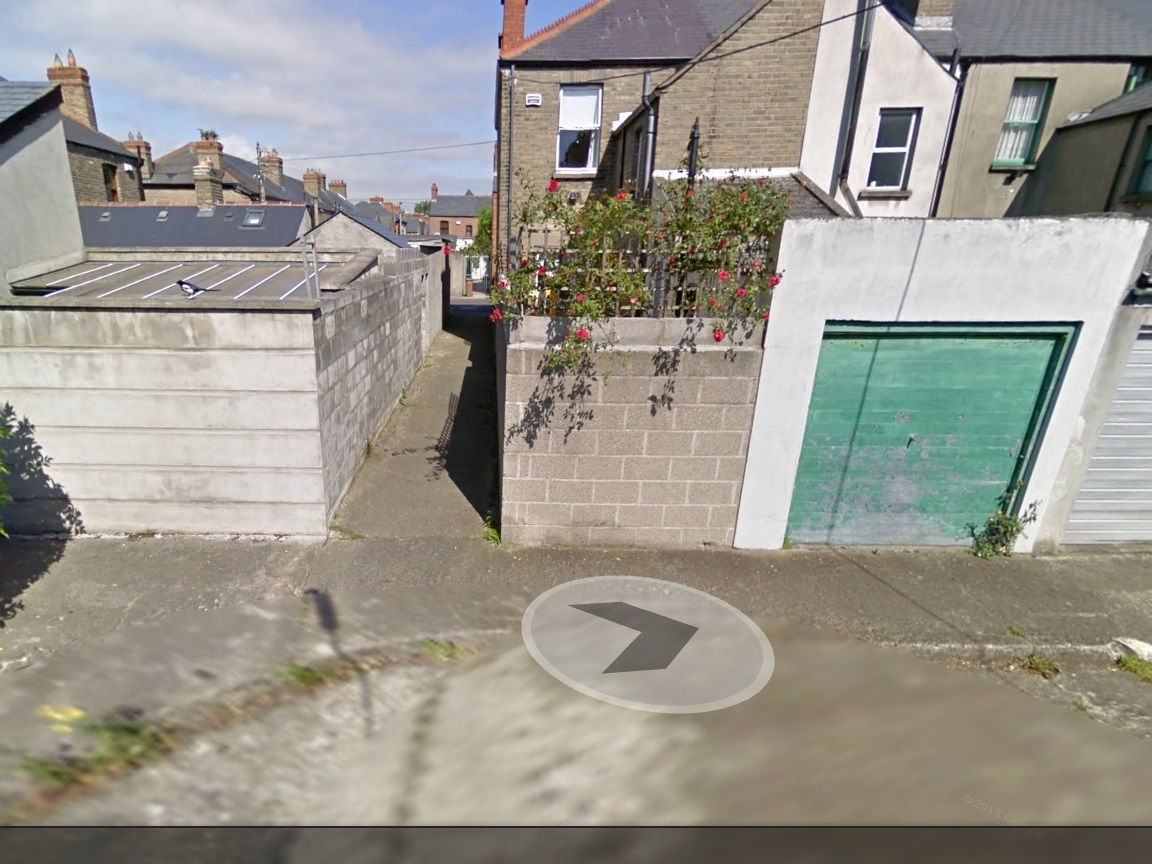 "My curb - the arrow indicates ""my spot"" - Image taken from Google Maps"