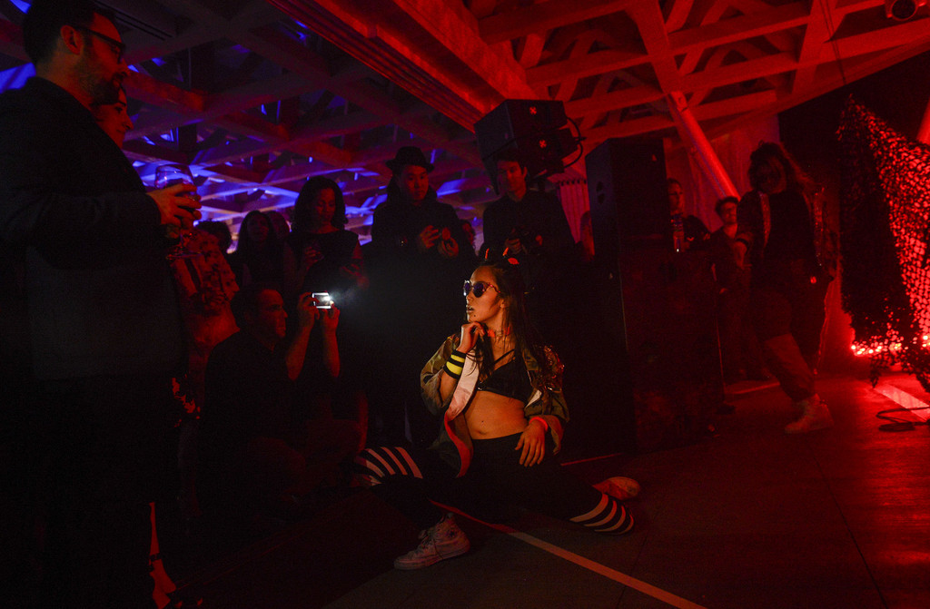 In performance with Grimes at the Aspen Art Museum  Photo: Riccardo Savi