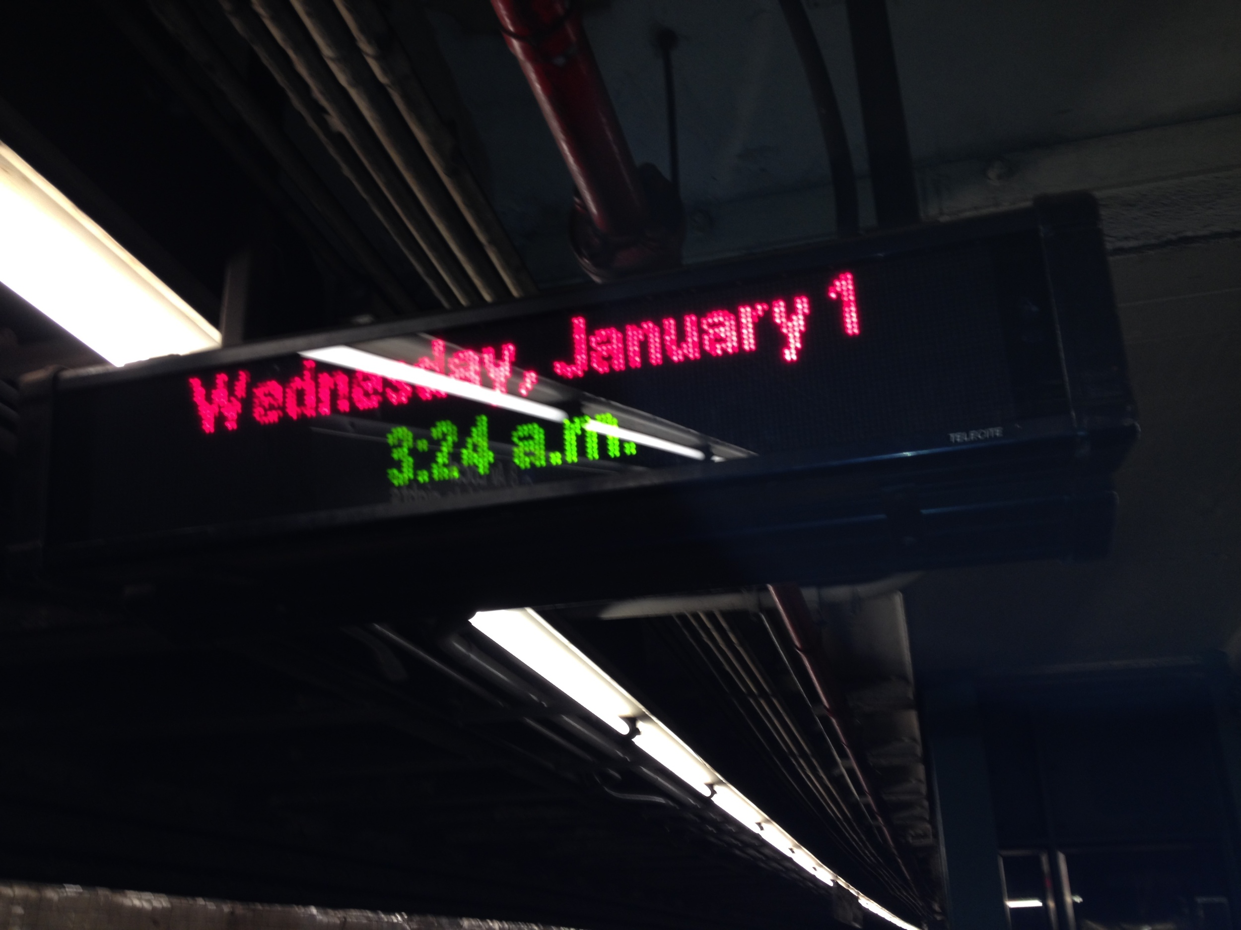 Getting home after new year's eve. Somehow we took the train from Columbus Circle (59th street) all the way to 125th street. We were trying to get to 79th. ಠ_ಠ