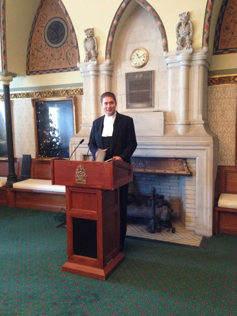 Speaker Andrew Scheer welcoming the guests at his Reception for Celia Sandys