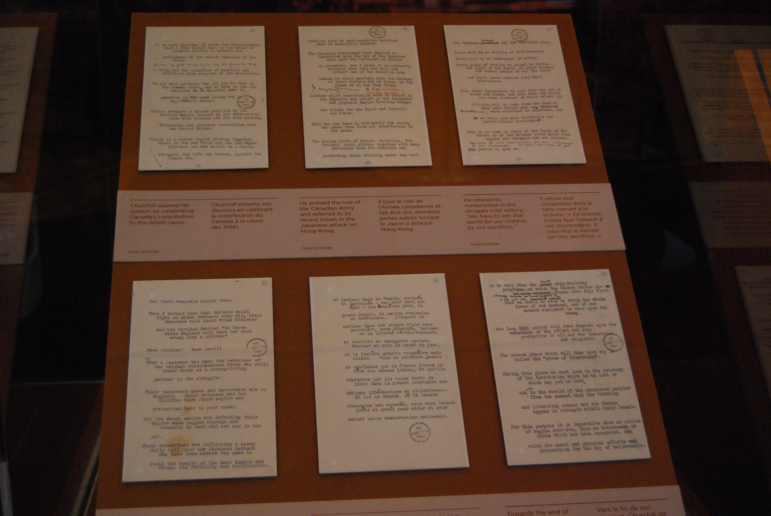 Six original pages from the December 30, 1941 speech
