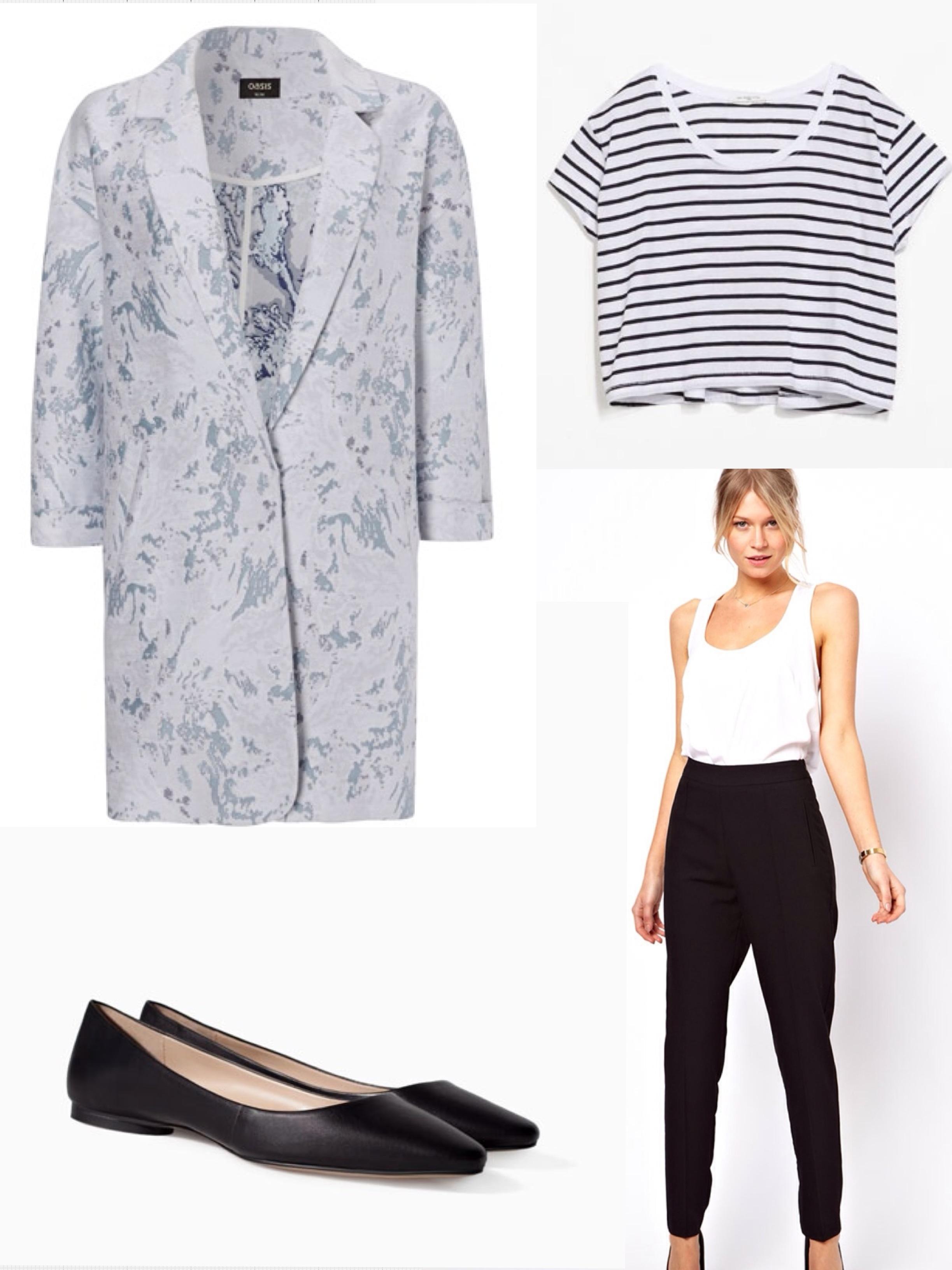 Oasis jacket Zara crop top. Asos trousers. Zara shoes.