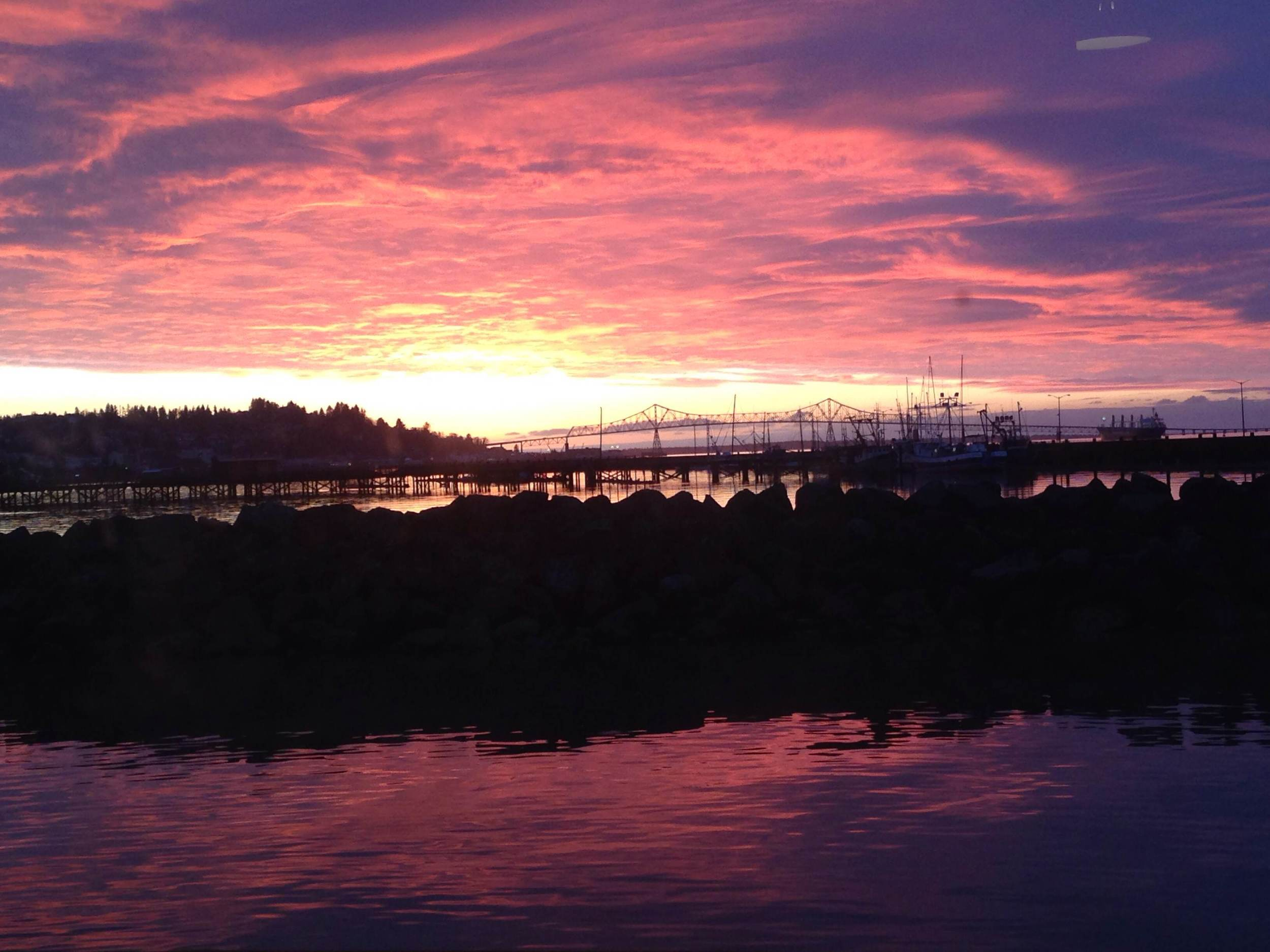 The view from our table at Rogue brewery in Astoria. Not bad, Oregon, not bad.