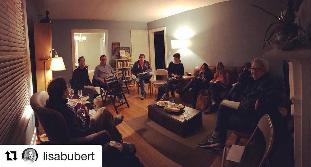 Our Lit Mag League meeting in February at Lisa's house. Adam Ross, editor of   The Sewanee Review   , joined us for a vigorous discussion of that writing and editing life!