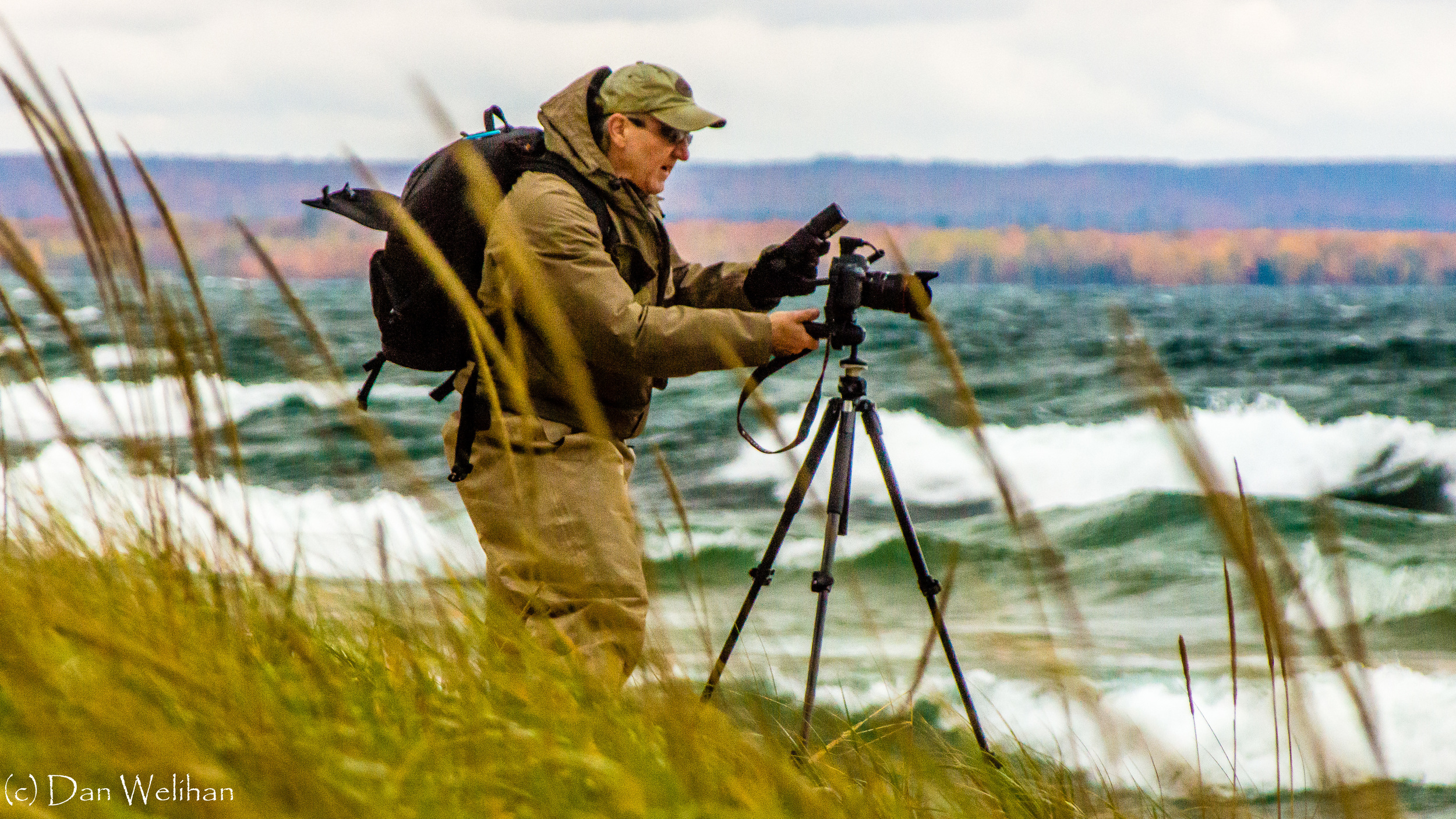 Tom Cadwalader on Lake Superior shoreline near Munising, Michigan - October, 2013
