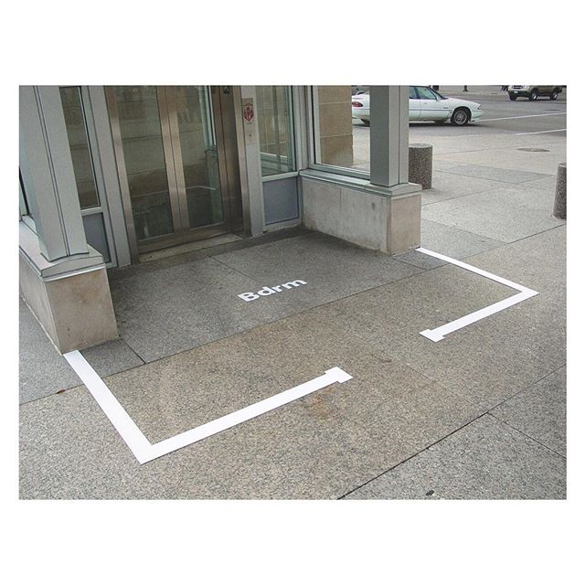 #TBT- Analogous Spaces: Bdrm, 2003 - 2006. A series of site-specific #art installations responding to #homeless ness. Situated within a dialogue regarding the relationship between the public and the private. I was particularly interested in activating sites where actual-use contested an oversimplified, often dualistic, understanding of these spaces, and of the people who use them. [Always investigating the #psychology of the individual within the collective.] The selected works posted from this series are all located in #urban #downtown #Chicago, and were regularly and actively co-opted for private and personal use (sleeping). The earliest pieces were crudely stenciled directly onto the #street. Later installations were materialized with lines and text hand-cut from retroreflective marking tape (the reflective material used as center lines on the highway). These were semi-permanently affixed to the pavement. Documentation was shot digitally or on #film. The series has also been presented as #photography (chromogenic prints). #saic #artist #contemporaryart #installationart