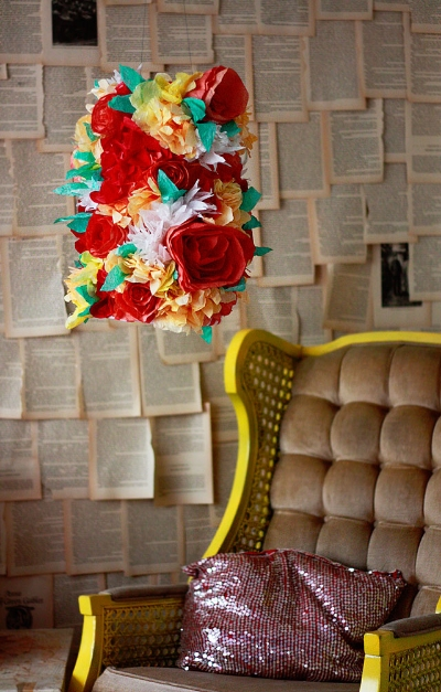 """It's DIY Lamp Monday! This week's feature goes out to Aunt Peaches Blog and her tutorial on her Floral Lampshade. This lampshade is a adorable, and is guaranteed to brighten up any room.  Click here for the """"How To Instructions."""""""