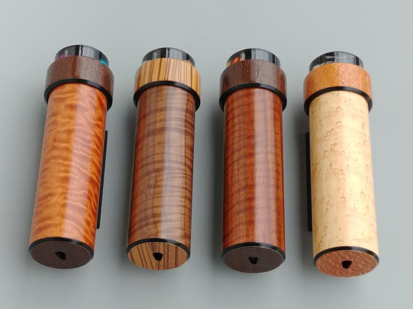 IT FIGURES WOOD BARRELS    WOOD CHOICES (main barrel): Bosse Cedar, walnut, curly etimo'e, bird's eye maple    (left to right)