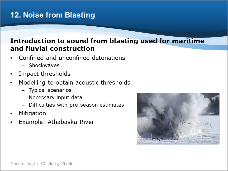Bioacoustics Training Course: Noise from Blasting