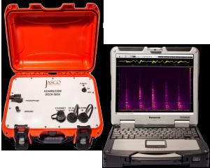 Ocean bottom hydrophone being prepared for underwater acoustic measurements by JASCO field scientist