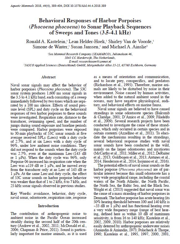 Behavioral responses of harbor porpoises (Phocoena phocoena) to sonar playback sequences of sweeps and tones (3.5-4.1 kHz) - Kastelein, R.A., L. Helder-Hoek, S. Van de Voorde, S. de Winter, S. Janssen, and M.A. AinslieAquatic Mammals 44(4): 389-404 (2018)doi.org/10.1578/AM.44.4.2018.389
