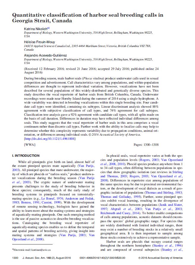 Quantitative classification of harbor seal breeding calls in Georgia Strait, Canada - Nikolich, K., H. Frouin-Mouy, and A. Acevedo-Gutiérrez J. Acoust. Soc. Am. 140(2): 1300-1308 (2016)doi.org/10.1121/1.4961008