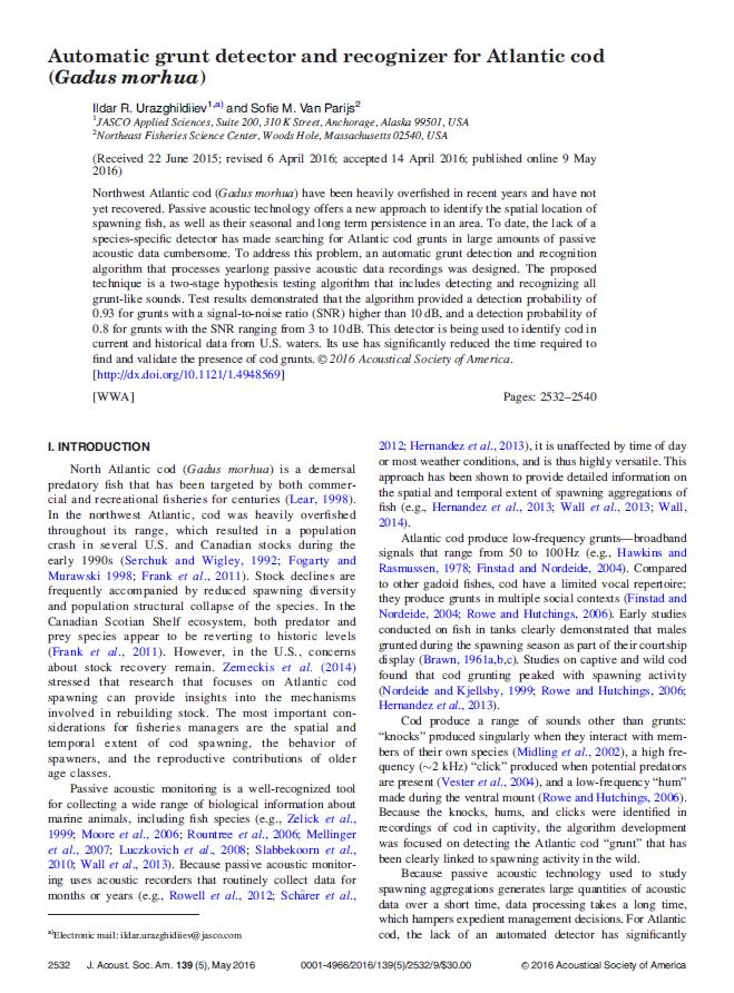 Automatic grunt detector and recognizer for Atlantic cod (Gadus morhua) - Urazghildiiev, I.R. and S.M. Van Parijs J. Acoust. Soc. Am. 139(5): 2532-2540 (2016)dx.doi.org/10.1121/1.4948569