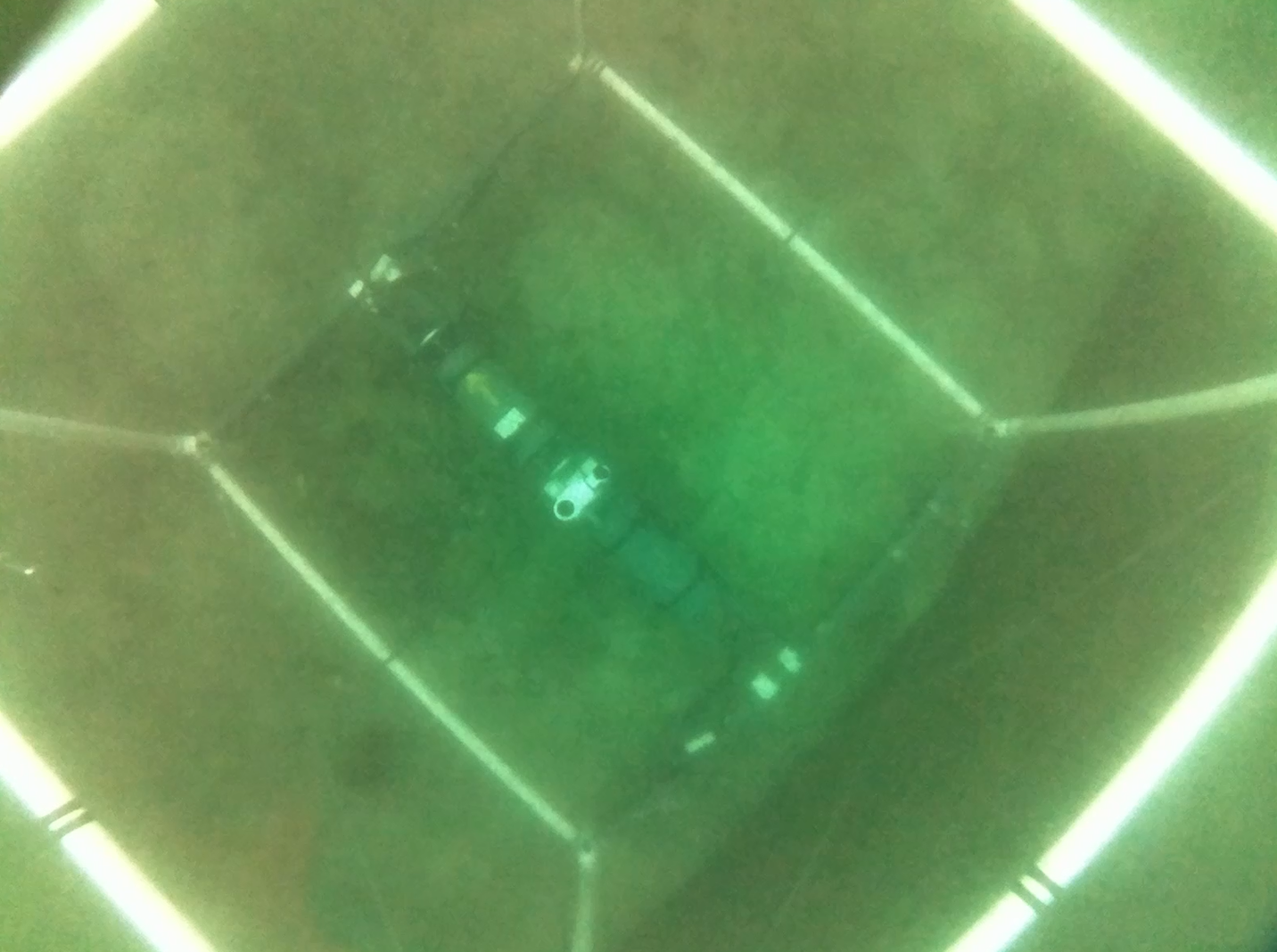View from the video camera mounted to the top of the hydrophone array.