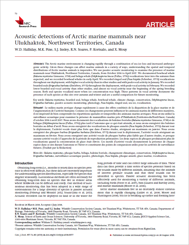 Acoustic detections of Arctic marine mammals near Ulukhaktok, Northwest Territories, Canada - Halliday, W.D., M.K. Pine, S.J. Insley, R.N. Soares, P. Kortsalo, and X. MouyCan. J. Zool. 97(1): 72–80 (2019)doi.org/10.1139/cjz-2018-0077