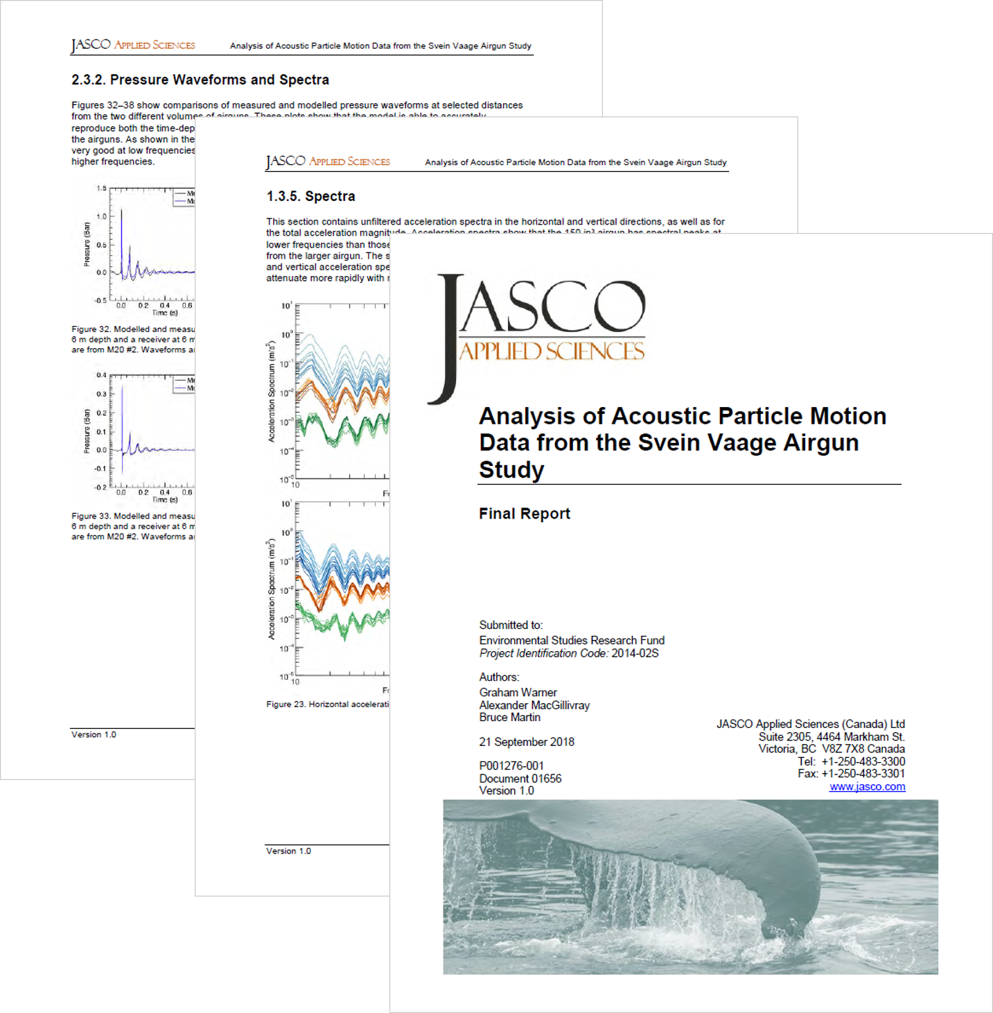 Analysis of Acoustic Particle Motion Data from the Svein Vaage Airgun StudyFinal Report (PDF, 5 MB) - Graham Warner, Alexander MacGillivray, and Bruce MartinEnvironmental Studies Research FundReport Number 216 (2018)