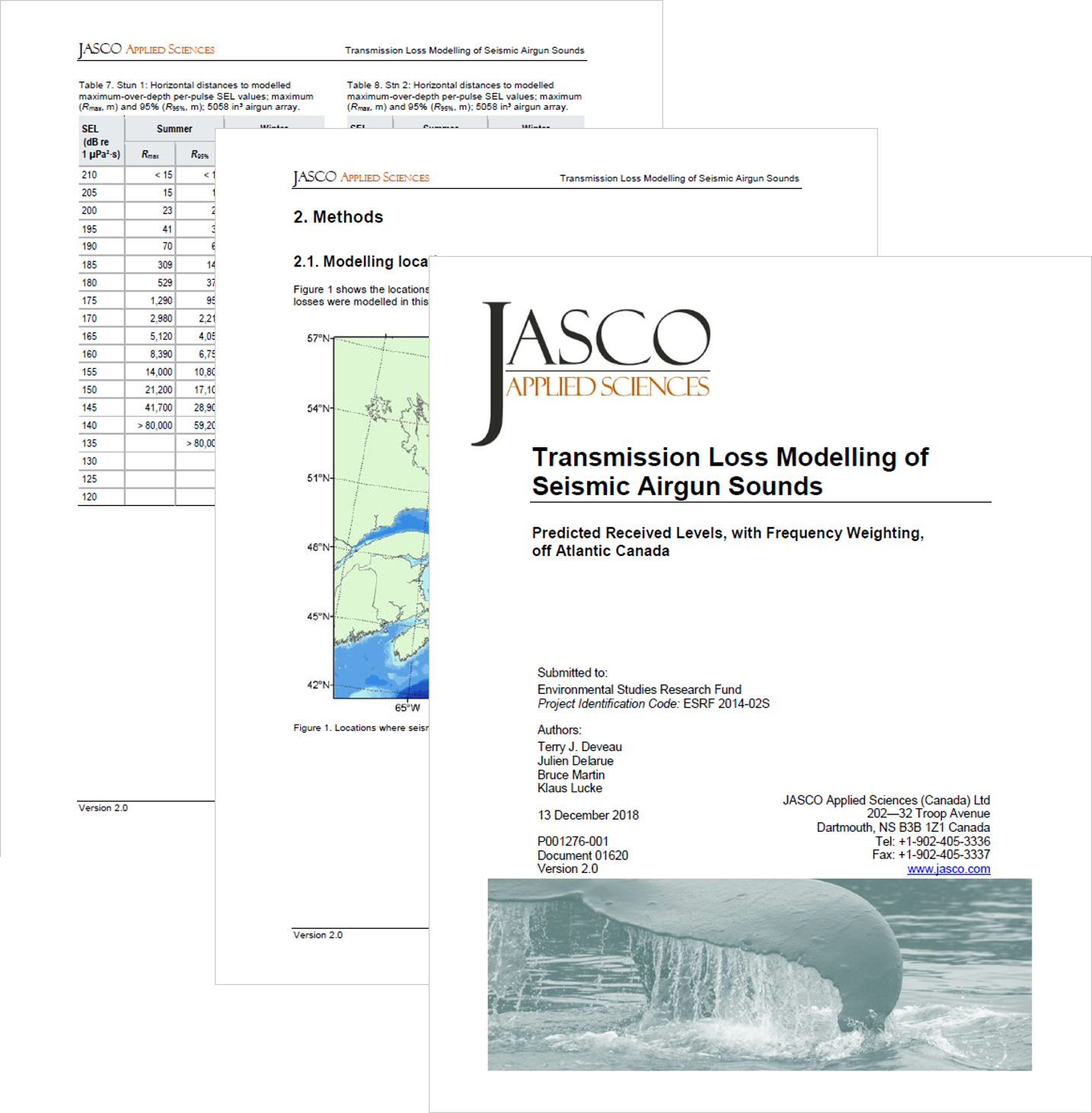 Transmission Loss Modelling of Seismic Airgun Sounds: Predicted Received Levels, with Frequency Weighting, off Atlantic Canada (PDF, 3 MB) - Terry Deveau, Julien Delarue, Bruce Martin, Klaus LuckeEnvironmental Studies Research FundReport Number 217 (2018)