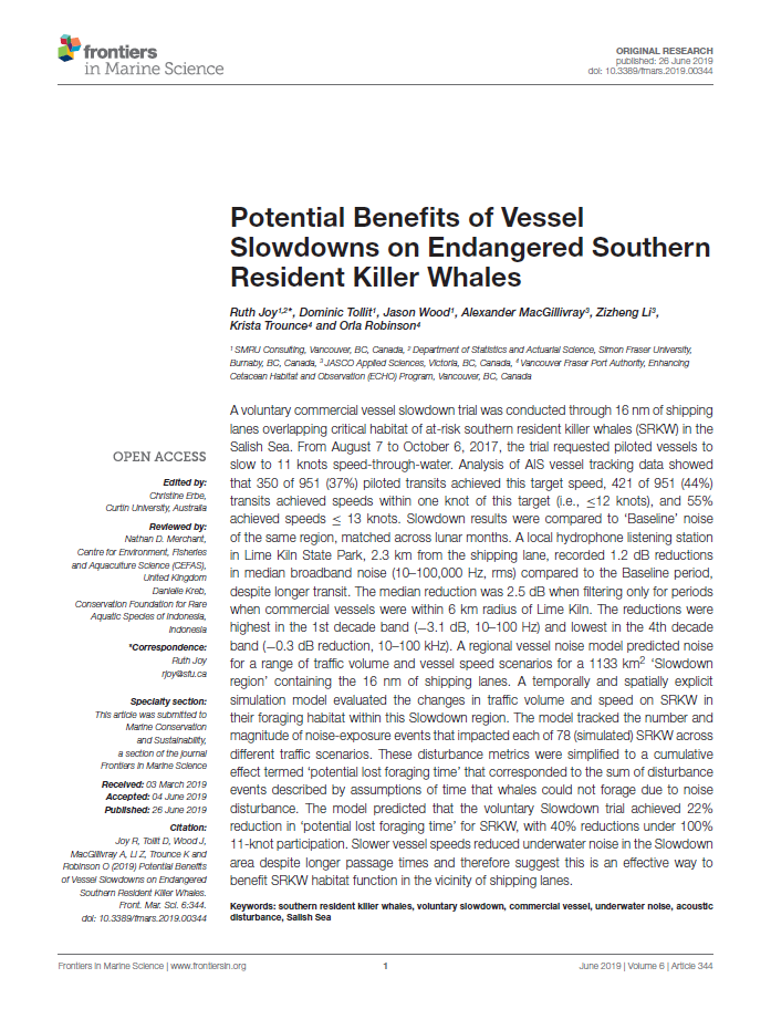 Potential benefits of vessel slowdowns on endangered southern resident killer whales - Joy, R., D. Tollit, J. Wood, A. MacGillivray, Z. Li, K. Trounce, and O. RobinsonFrontiers in Marine Science 6(344) (2019)doi.org/10.3389/fmars.2019.00344