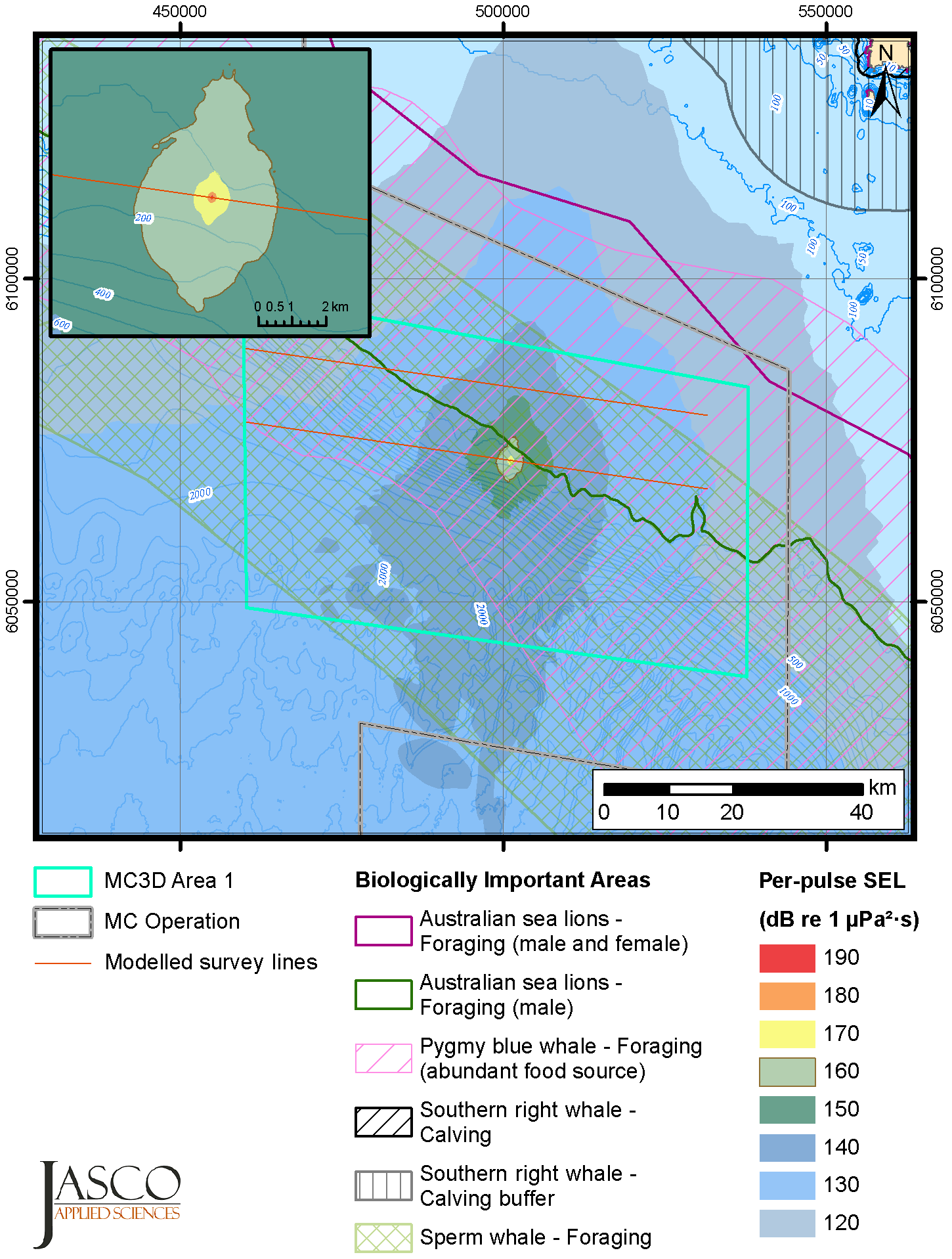 Example of modelled sound levels resulting from a seismic airgun array. The contours of the sound levels are overlayed on the foraging and calving areas of local marine mammal species. The sound levels shown are unweighted maximum-over-depth per-pulse sound exposure levels (SELs). The inset map shows a close-up of the SEL contours around the source.