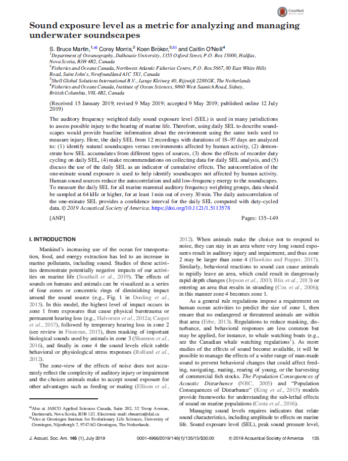 Sound exposure level as a metric for analyzing and managing underwater soundscapes - Martin, S.B., C. Morris, K. Bröker, and C. O'NeillJ. Acoust. Soc. Am. 146 (1): 135-149 (2019)doi.org/10.1121/1.5113578