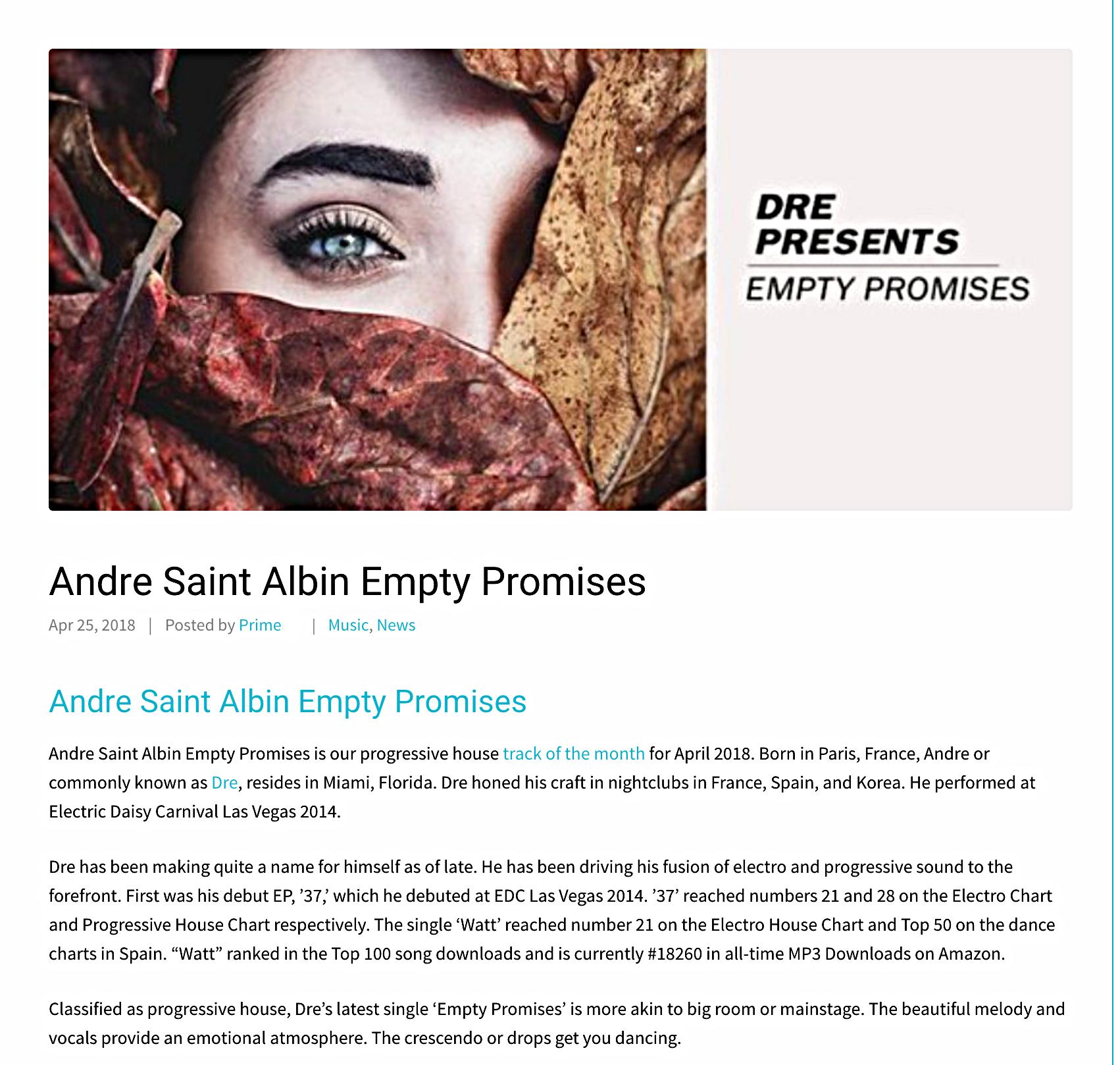 """EMPTY PROMISES"" 2018 SAINT-ALBIN ANDRE"