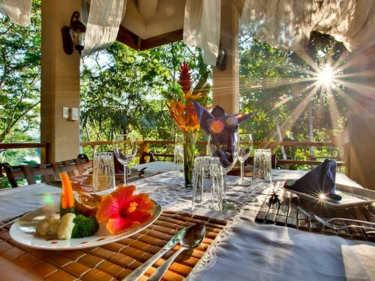 The Dining Terrace at Mystic River Resort in the Cayo District
